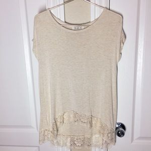 Pink Rose Lace Blouse - Cream